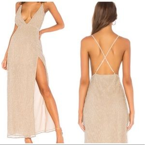 By the Way • Gold Hailee High Slit Maxi Dress